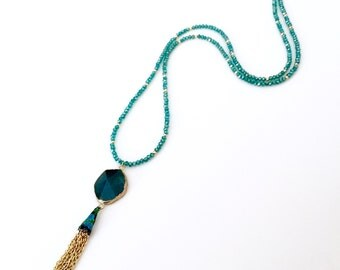 Boho gypsy- Long Aqua Facetsd Agate Pendant Necklace - AB Aqua Crystal Rondellles Gold Metal Beaded Chain