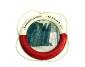 Vintage Nautical Sail Boat Life Preserver USSR Picture Frame Red White Russia Souvenir Russian Lena Pillars Photograph