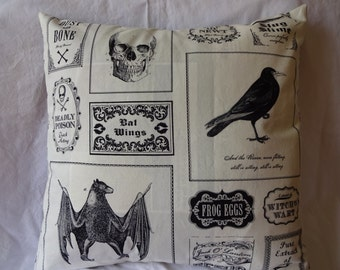 Halloween label pillow cover