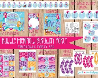 Bubble Mermaids Birthday printable set - invitation and thank you included!  Personalization included!