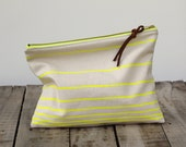 The Traveler's Clutch //  SUMMER NEON // Unbleached Canvas and Neon Yellow Stripes // Beach Bag // Makeup Bag // Toiletry Pouch