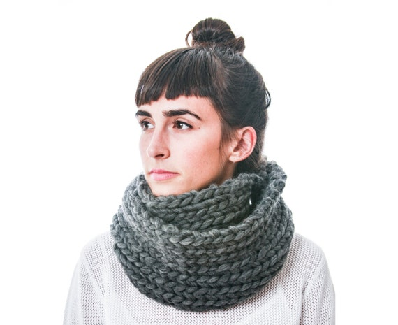 Oversize Cowl in Dark Gray hand knit in pure Merino wool by Kerri Westlake