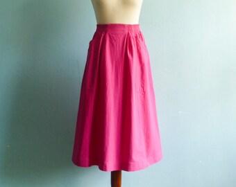 Vintage 70s skirt magenta pink / summer / high waist / side pockets / midi / medium /