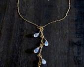Moonstone Necklace Rainbow Anniversary Gift Tassel Necklace Moonstone Waterfall Necklace Rainbow Moonstone Jewelry Gemstone Necklace