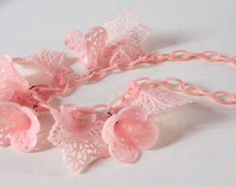Vintage Necklace 1930s Pink Celluloid Flowers