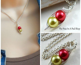 Peapod Necklace - Two Peas In A Pod Silver Necklace