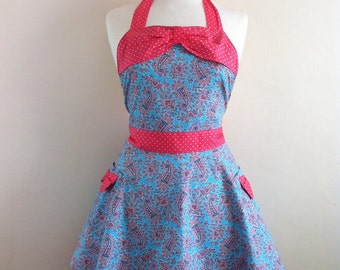 Retro apron with bow, circle skirt, vintage paisly pattern on a blue fabric, 1950s inspired.