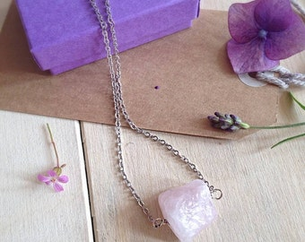 Rough Cut Rose Quartz Necklace