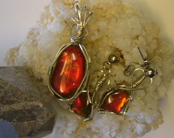 Bright Red Fire Gem Quality Ammolite from Utah Deposit Argentium Sterling Silver Wire Wrapped Pendant and Earrings Set 379