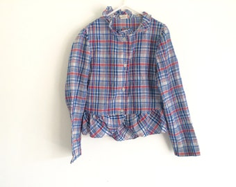 1970s girls plaid / gingham COUNTRY WESTERN cowgirl puff sleeve ruffle blouse