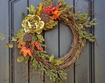 Fall Wreath Thanksgiving Wreath Halloween Green Berry Twig Grapevine Door Wreath Decor Gourd Orange Floral Door Decoration Monogrammed
