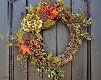 Fall Wreath Thanksgiving Wreath Halloween Green Berry Twig Grapevine Door Wreath Decor Gourd Orange Floral Door Decoration Monogrammed