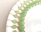 10% OFF SET of 7 Wedding Earrings Gold Mint Bridesmaid Earrings Wedding Jewelry Gold Mint Green Earrings Mint Jewelry Bridesmaid Gift.Dainty