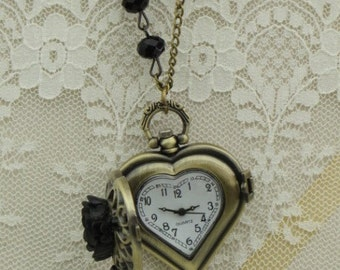 VICTORIAN Timepiece - Heart WATCH Necklace on Black Crystal -  Black Roses and Skeleton KEY