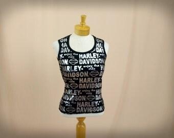 Harley Davidson Tank Top * Black Tank Top * Black and Silver * Harley Davidson Myrtle Beach * Hipster Tank Top * Small