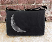 Crescent Moon Messenger Bag - Screen Printed Messenger Bag - Cotton Canvas Black
