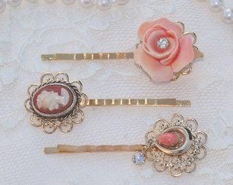 Blush Rose Pink Bridal Bobby Pin,Jeweled Bridal Hair Pin,Blush Peach Rose,Pastel,Vintage Brooch Earring Hair Pin,Gold Bobby,Set of Three