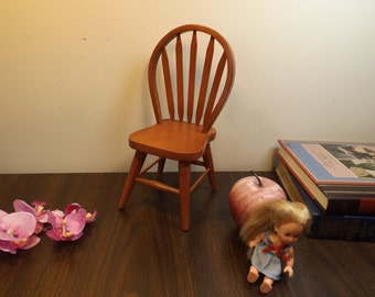 Wooden doll chair.Doll house furniture. Excellent condition.Brown finished. It is sturdy.Brown Gift