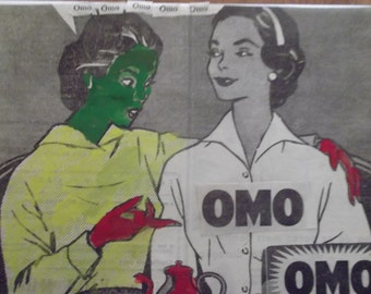 1950s COLLAGE ON CANVAS, home decor, art, Pop Art, advert, Portuguese vintage