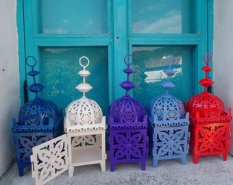 handpainted MOROCCAN LANTERN, 30 cm high, outdoor, indoor use, alfresco dining, weddings, Mediterranean