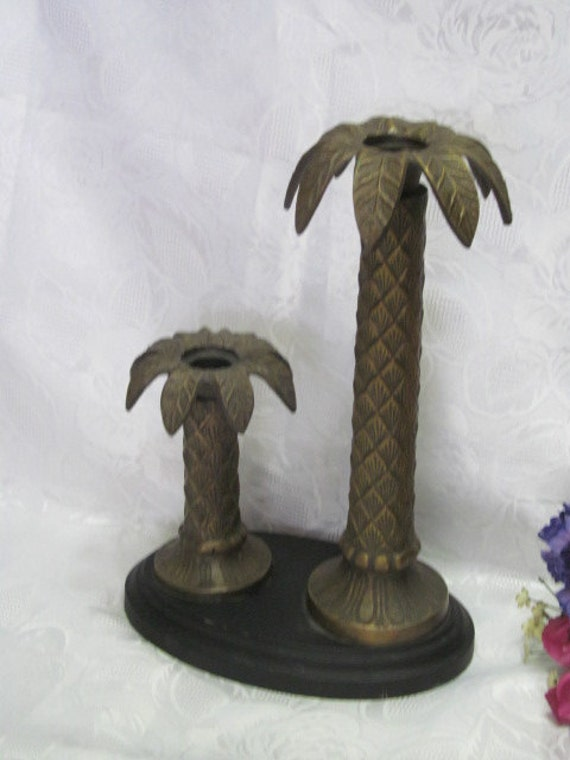 Brass Palm Tree Double Candle Holder Candle Stick Tropical