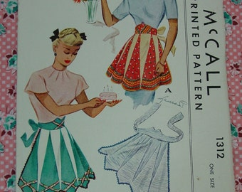 Vintage Pattern c.1946 McCall Apron, One Size