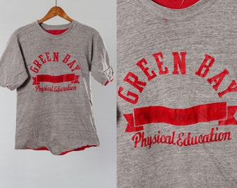 Green Bay Vintage T Shirt | S XS Double Sided Thick Heavy Scrimmage Jersey Heather Grey Red Reversible GB Phys Ed Curved Hem Name Gym 5AA