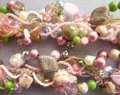 Multi strand statement necklace, pink and green necklace, garden, flowers, romantic, Victorian, feminine, nostalgic :Twining Vines
