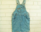 80's DENIM OVERALL DRESS vintage Jordache faded blue jean skirt jumper minidress overalls M