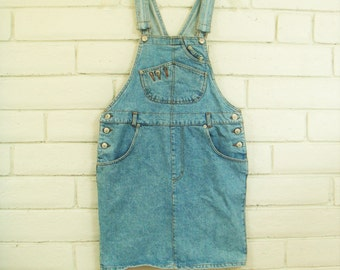 80's DENIM OVERALL DRESS vintage Jordache faded blue jean skirt jumper minidress overalls M