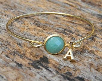 Gold Bangle Bracelet / Personalized Turquoise Bracelet / Initial Bracelet / Bridesmaid Bracelet / Initial Bangle / Personalized Bangle