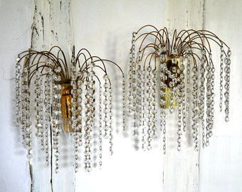 French Vintage  wall sconces crystal Waterfall- FREE SHIPPING