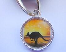 Kangaroo In The Sunset Postage Stamp Keyring