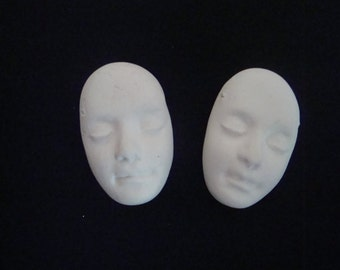Set of 2 Matte White Polymer Clay Face Beads