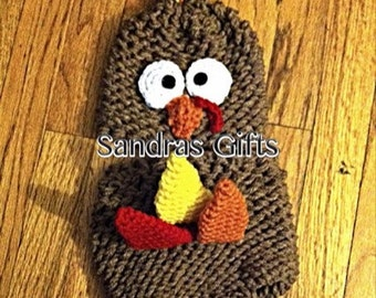Knit turkey hat and diaper cover 0-3m