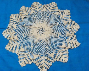 "Wonderful Handmade Crocheted Round Doily 15"" Inch"