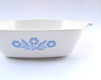 Vintage Cornflower Blue Petite Pan Small Casserole Bakeware Corningware White Ceramic Flowers Dish P41 Mini Serving Entree Tray 1.75 Cup