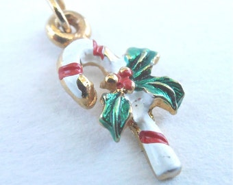 Vintage TINY Christmas Candy Cane Pendant Charm Red White Stripes Peppermint Holly Berries Holiday Season Xmas Gold Tone Mini Miniature