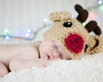 Reindeer baby hat, Crochet Rudolph baby hat, baby, toddler, child sizes,  newborn photography prop or great christmas gift. Christmas baby