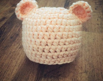 peach baby bear hat, 0-3 months size, Newborn photography prop, baby shower/ christmas gift