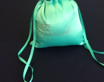 Custom Made Money Bag Dollar Dance Aqua Satin with Rhinestone Accent.