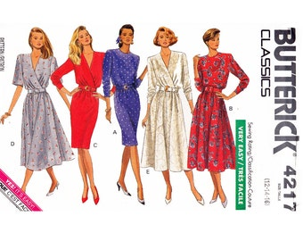 Classic Mock Wrap Dress Full & Straight Skirt Easy to Sew UNCUT 1980s Sewing Pattern Sizes 12 14 16 Bust 34 36 38 Butterick Classics 4217