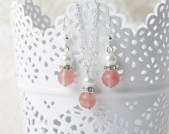 Coral  bridesmaid jewelry set, coral wedding jewelry, coral bridesmaid gift,  coral necklace and earrings set, coral pink, cherry quartz