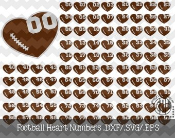 Football Heart Numbers .DXF/SVG/.EPS File for use with your Silhouette Studio Software