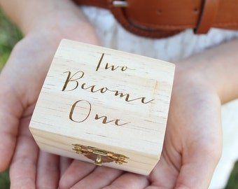 Two Become One Ring Box Rustic Wedding Ring Box Engraved Ring Box