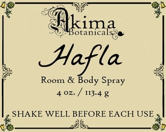 HAFLA Room & Body Spray 4oz ~ frankincense, myrrh, jasmine, violet, amber ~ Free from alcohol, parabens, preservatives ~ For home, office