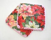 Christmas Poinsettias  - Pair of Quilted Fabric Pot Holders