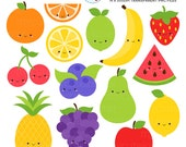 Cute Fruit Clipart Set - clip art set of orange, apple, banana, fruit, healthy, happy - personal use, small commercial use, instant download