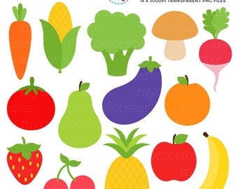 Fruits & Vegetables Clipart Set - clip art set of pineapple, banana, carrot, broccoli - personal use, small commercial use, instant download