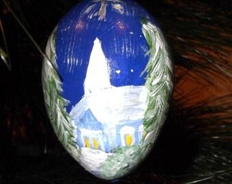 "Hand painted Christmas ornament - ""gourd egg"" - country church & manger scene"